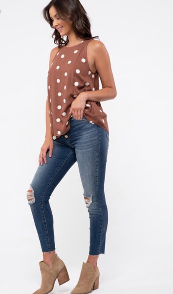 Brown Pom-Dot Halter Tank