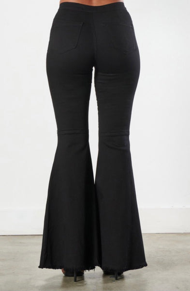 High Rise Black Bells Knee Distressed