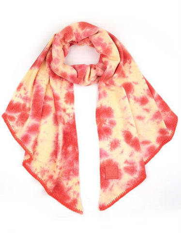Orange & Peach Tie Dye CC Bias Cut Scarf