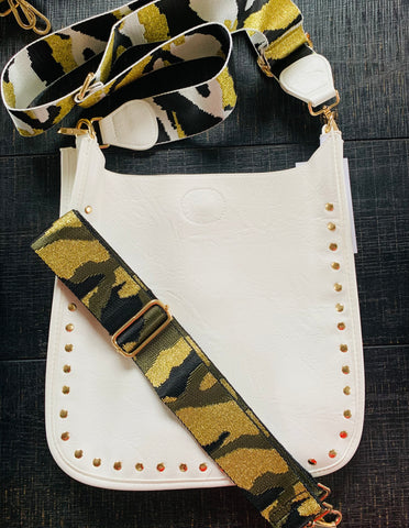 White & Gold Studded Messenger Bag