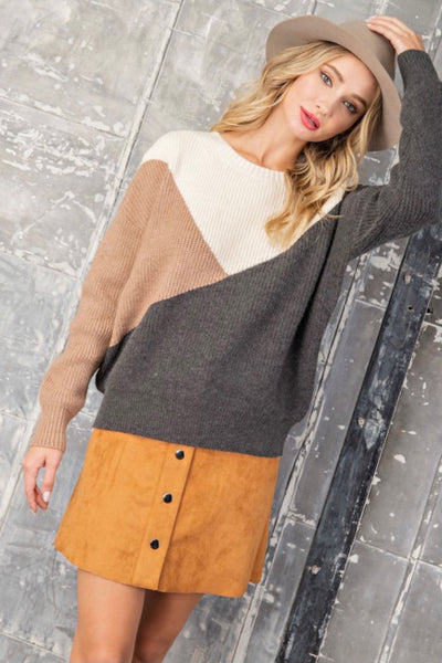Charcoal And Camel block knit sweater