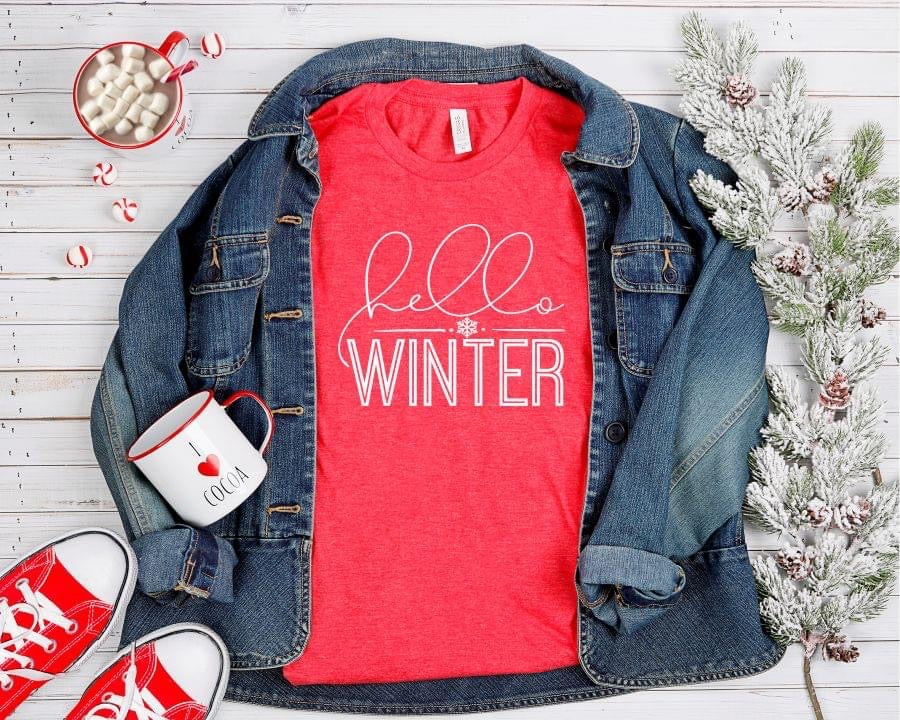 Hello Winter Vintage Red Short Sleeve Tee