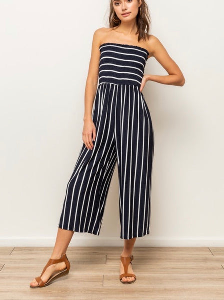 Deep Navy & White Smocking Jumpsuit