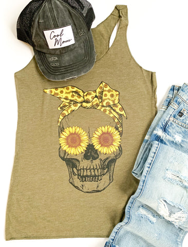 Sunflower Skull Tank