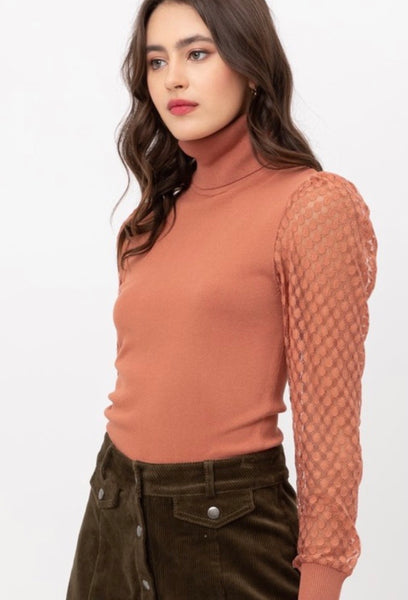 Lace Puff Sleeve Turtle Neck (2 colors)