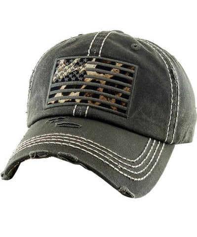 Grey & Leopard Vintage Flag Hat