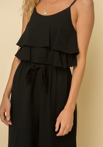 Black Tiered Ruffle Jumpsuit