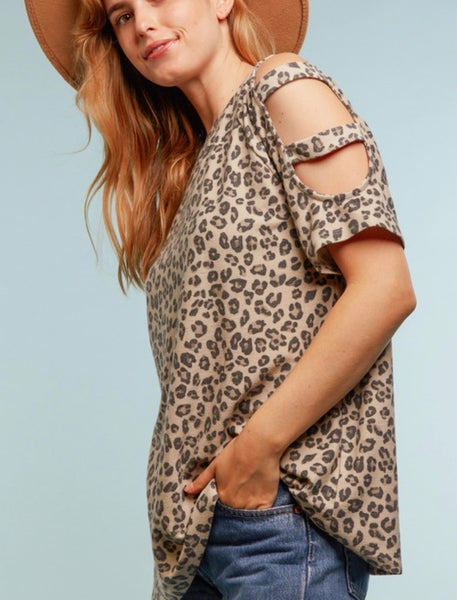 French Terry Shoulder Cut Out Top