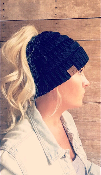 Sea foam messy bun beanie