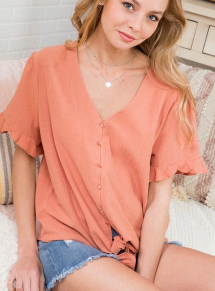 Light Coral Button Down Top