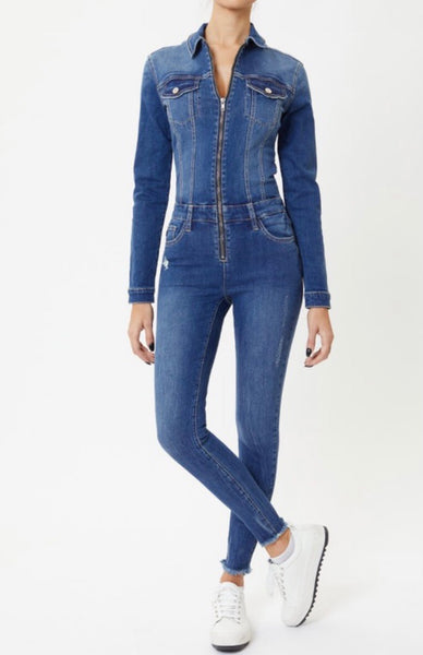 Kan Can Denim Skinny Jumpsuit