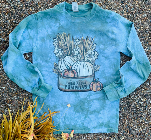 Sage Vintage Dyed Farm Fresh Pumpkins Long Sleeve Tee