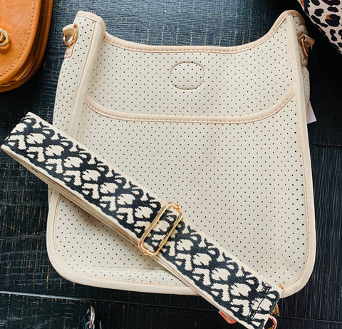 Cream Neoprene Messenger Bag (strap not included)