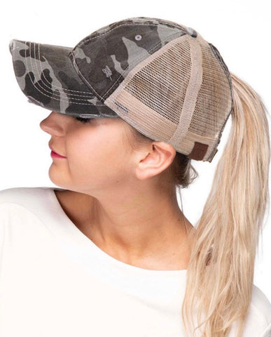 CC Ponytail Cap With Criss Cross Elastic (+ colors)