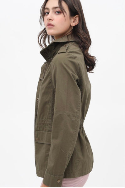 Long Sleeve Utility Anorak Jacket (Rust or Olive)