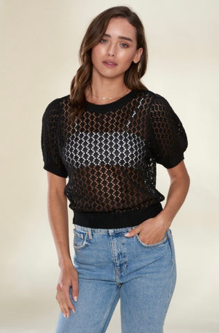 Honeycomb Knit Top -Black