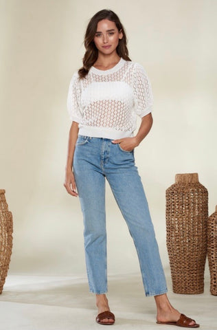 Honeycomb Knit Top -Ivory
