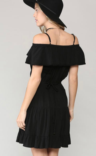 Black Ruffle Neckline Midi Dress