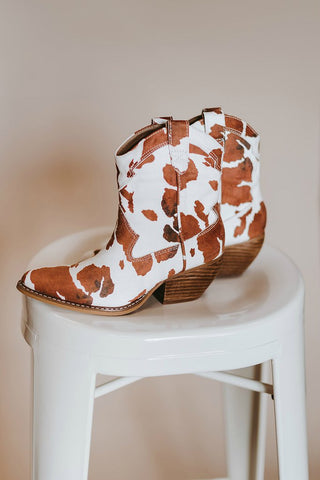 Cow Print Ankle Booties (2 Colors)