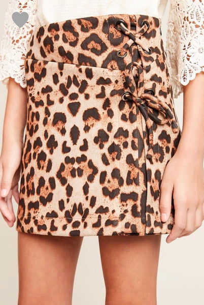 Girls Leopard Lace Up Skirt