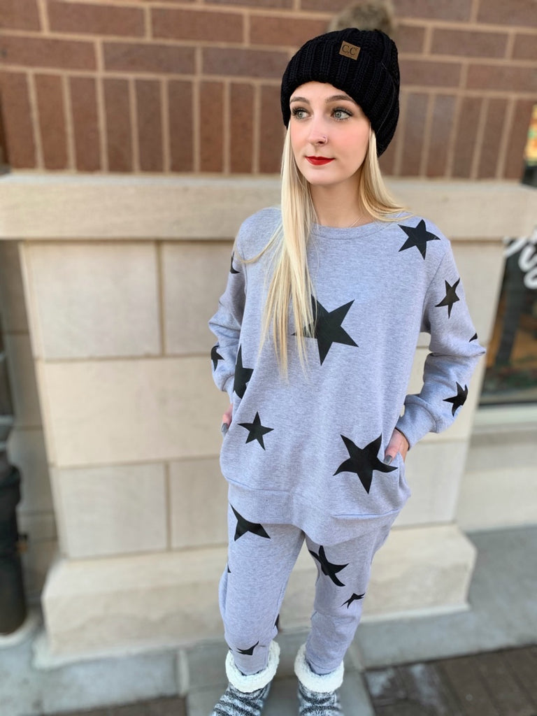 Star Pattern Heather Grey & Black Sweatshirt (top to set)