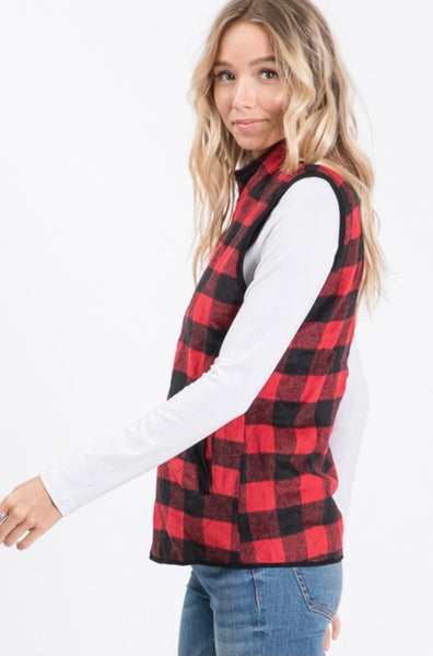 Red & Black Buffalo Plaid Vest