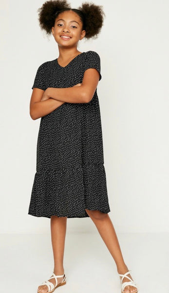 Black & White Polka Dot Girls Dress