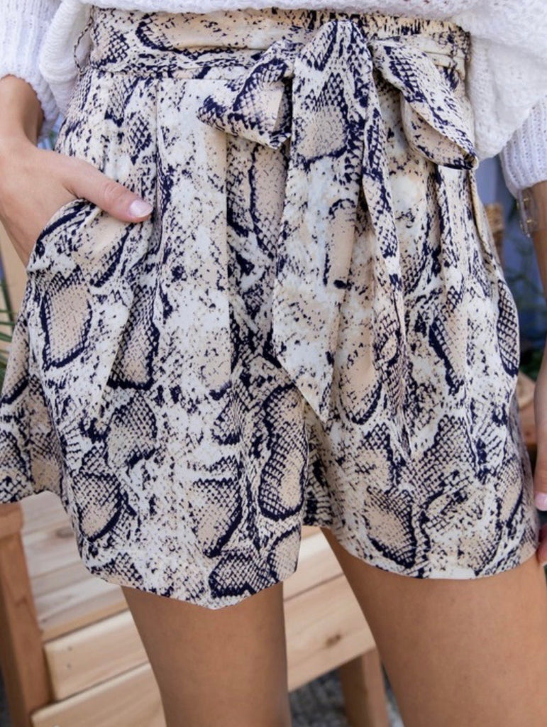 High Waist Belted Snake Print Shorts