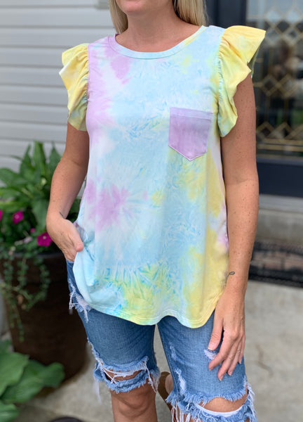 Purple Sunrise Tie Dye Ruffle Sleeve Tank