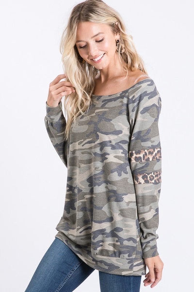 Long Sleeve Camo & Leopard Top