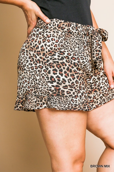 Leopard Paperbag Shorts (1X-3X)