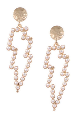 Cream Pearl Lightning Drop Earrings
