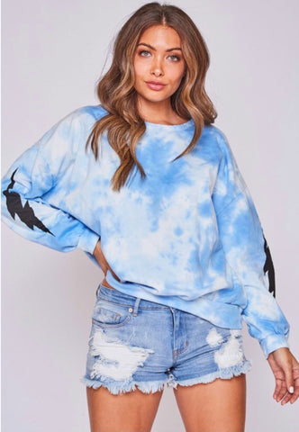 Blue Tie Dye Lightning Bolt Sweatshirt