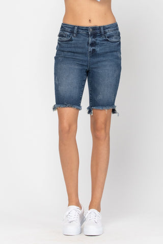 High Rise Cut Off Frayed Bermuda Shorts