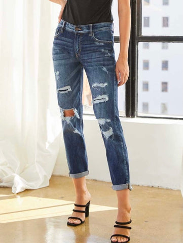 Kan Can Dark Distressed Mid Rise Boyfriend Jeans
