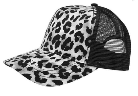 Grey & Black Leopard Trucker Hat
