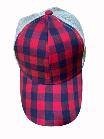 Criss Cross Back Buffalo Plaid Hat
