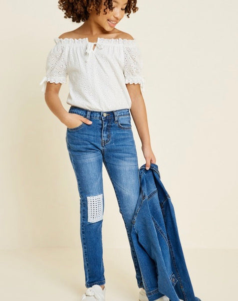 Girls Crochet Patch Jeans