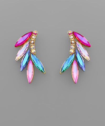 Marquise Colored Crystal Wing Earrings
