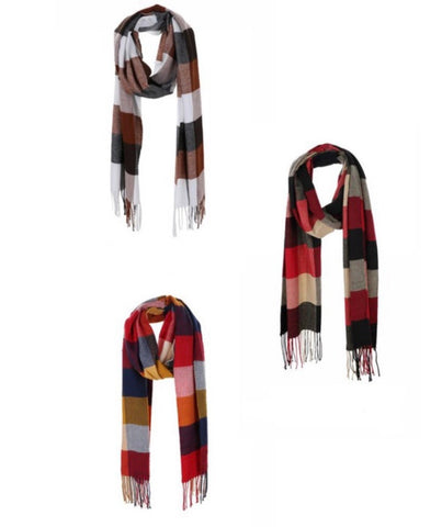 Plaid Print Oblong Tassel Scarf