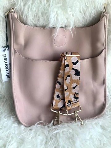 Blush Smooth Vegan Leather Messenger Bag (strap not included)