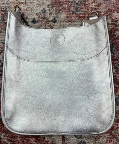 Silver Metallic Vegan Leather Messenger Bag ( strap not included )