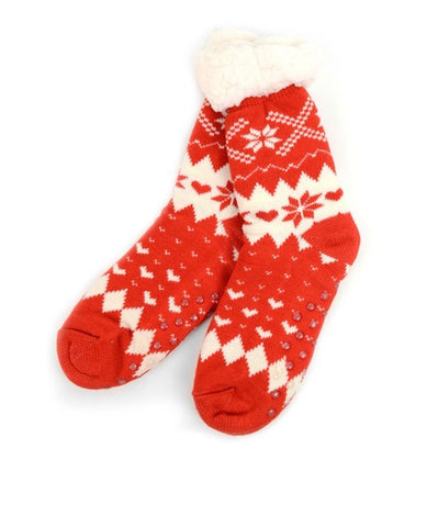 Red & Cream Heart Sherpa Socks