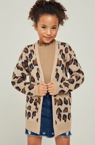 Girls Knit Leopard (two color options)