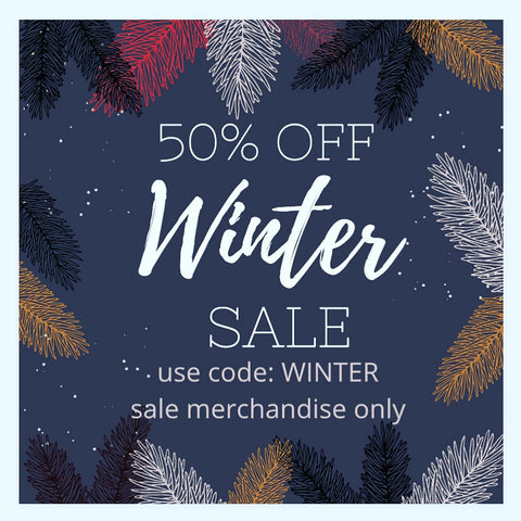 Use code WINTER at checkout to save 50% off sale merch!