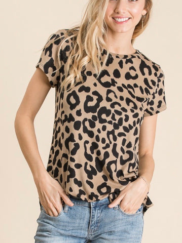 Taupe Animal Print Short Sleeve Top
