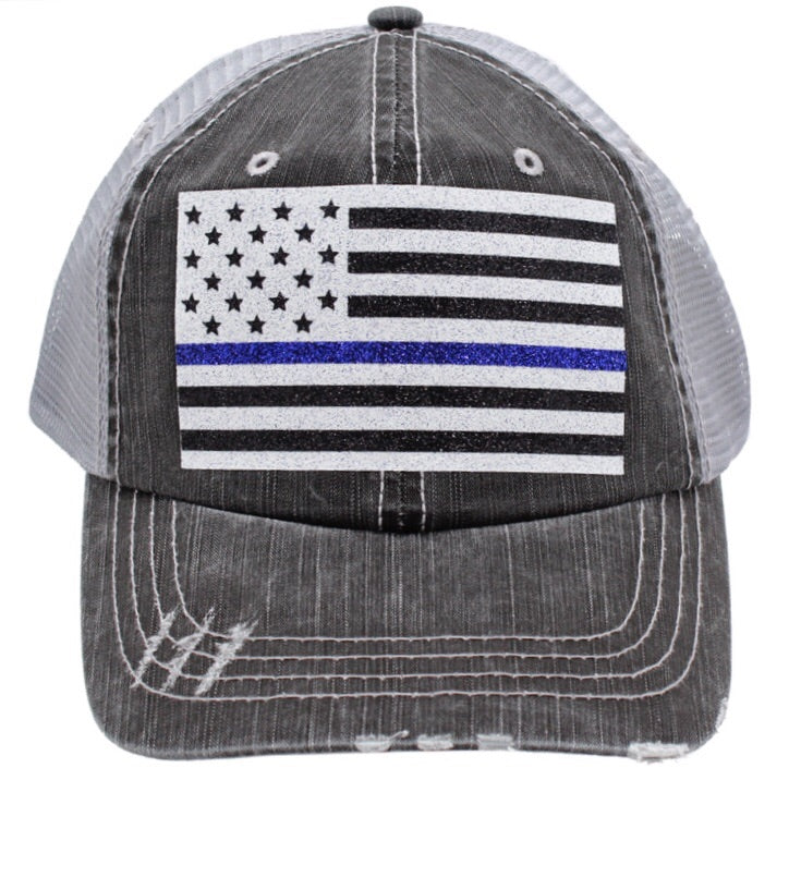 THIN BLUE LINE AMERICAN FLAG HAT (2 colors)