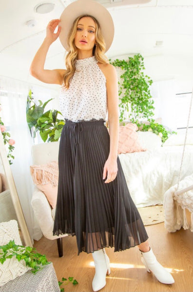 Pleated Wide Leg Palazzo Pants (2 Colors)