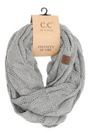 Grey CC Label Knit Scarf