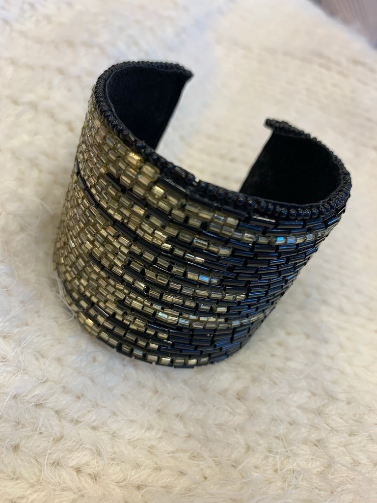 Black And Gold Beaded Cuff
